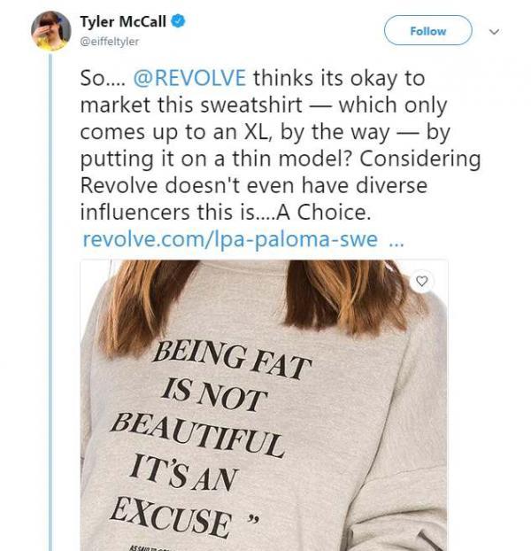 Hãng Revolve bị 'ném đá' vì mẫu áo với dòng chữ chế nhạo người béo, thực hư ra sao?