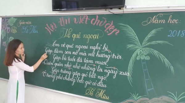 Ngỡ ngàng với nét chữ uyển chuyển của các cô giáo tiểu học mà không có bất cứ font chữ máy móc nào sánh bằng