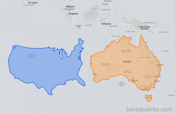 15 bức ảnh so sánh sẽ thay đổi cách nhìn của bạn về kích thước của các quốc gia trên thế giới