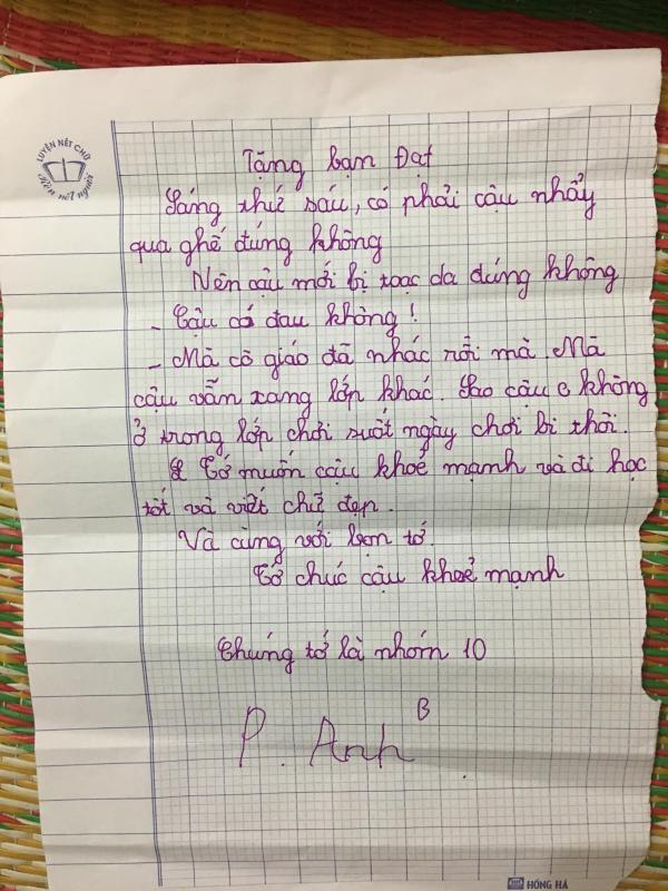 Đáng yêu kịch trần với xấp tâm thư hỏi thăm bạn học bị ngã của học sinh lớp 4