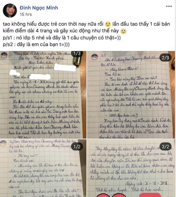 'Diễn biến gay cấn' trong bản kiểm điểm vì tội đánh bạn của học sinh lớp 5