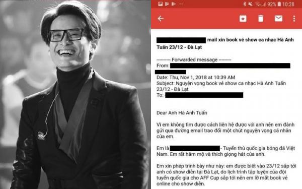 Cầu thủ bóng đá gửi email tha thiết xin Hà Anh Tuấn được book vé trễ vì phải tập luyện cho AFF Cup