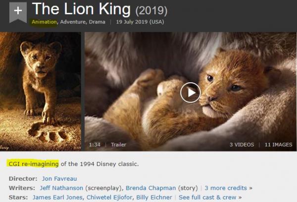 Phiên bản 'Lion King' mới của Disney nên được xem là 'live-action' hay CGI?