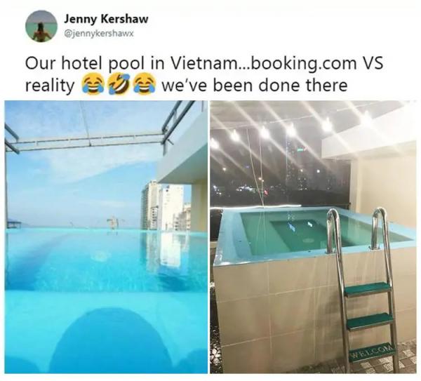 Lúc đặt phòng khách sạn cũng như khi mua đồ, đừng quá tin vào hình ảnh trên mạng