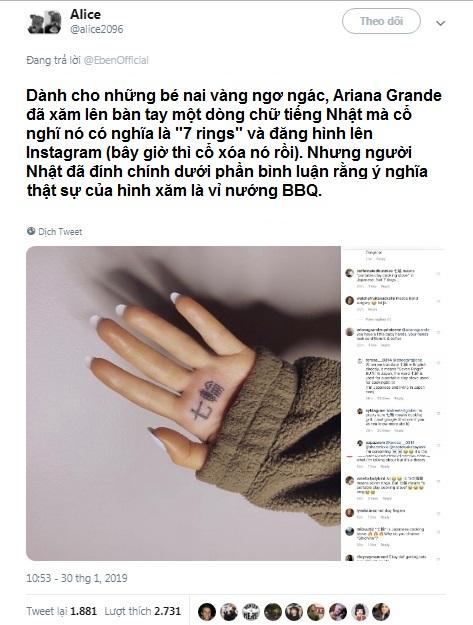 Khoe hình xăm tiếng Nhật mới 'so deep', Ariana Grande phải xóa lẹ khi biết ý nghĩa nhảm nhí của nó