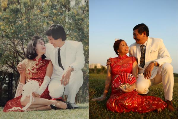 Trầm trồ với bộ ảnh #30yearchallenge tái hiện ngày cưới của bố mẹ cách đây 30 năm