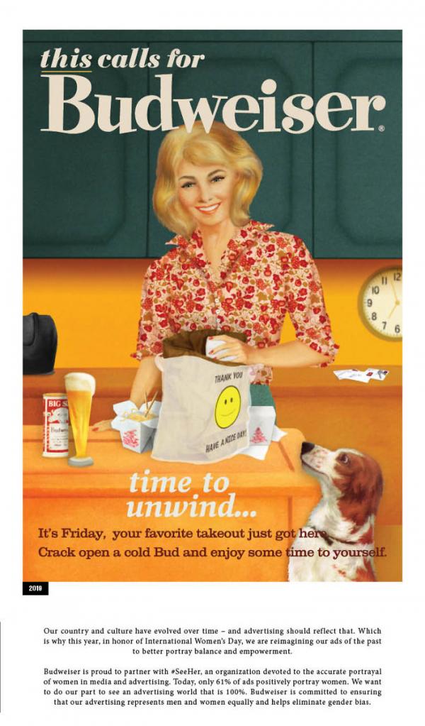 Bia Budweiser vẽ lại những hình quảng cáo phân biệt giới từ hồi thập niên 50 - 60