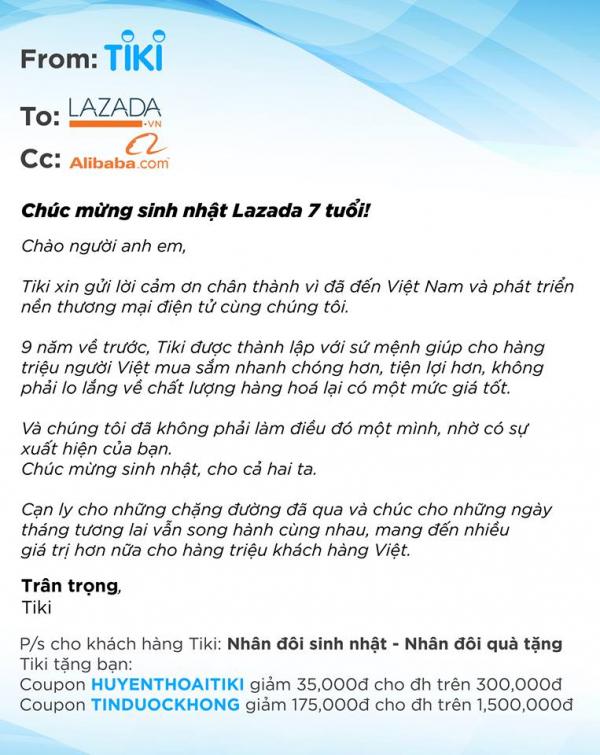 Đến hẹn lại lên, Lazada đón sinh nhật hoành tráng và đây là phản ứng của 'người anh em' Tiki