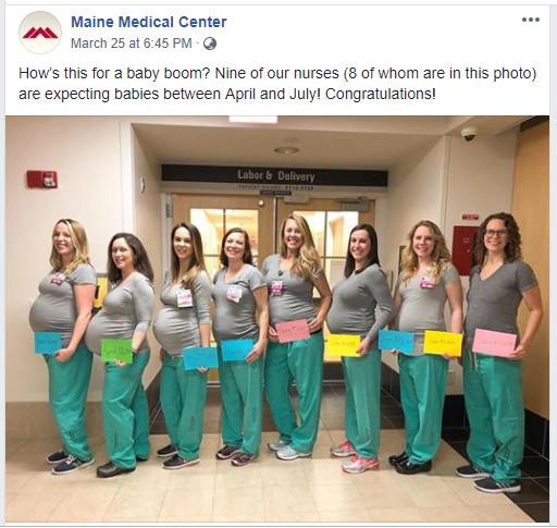 Chuyện hi hữu: 9 y tá cùng một bệnh viện sắp sinh tại cùng một phòng mổ, trong cùng một khoảng thời gian!