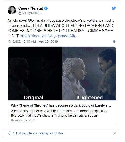 Người hâm mộ phàn nàn tập 3 mùa 8 của 'Game of Thrones' tối thui như đêm 30