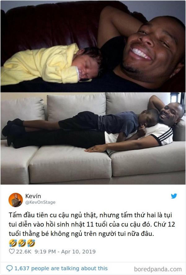 Khi các ông bố khoe ảnh ngủ cùng con: Ai nói các bố ít quan tâm con nào?