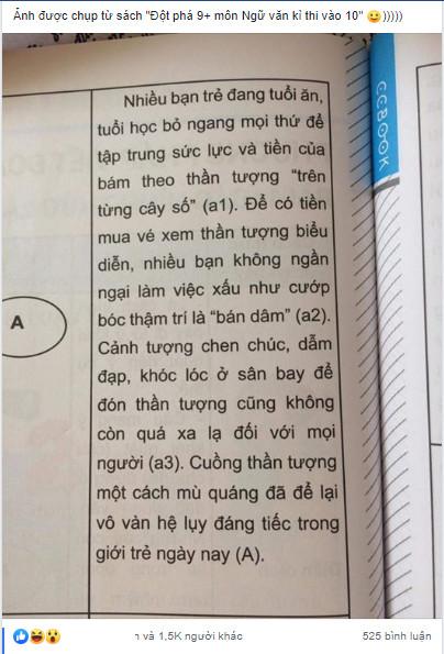 Sách tham khảo môn Văn gây phẫn nộ khi lấy ví dụ: fan K-Pop bán dâm để kiếm tiền mua vé concert