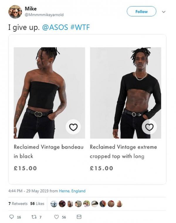 ASOS nhận cơn mưa chế giễu khi tung ra thiết kế croptop và 'bra' dành cho đàn ông
