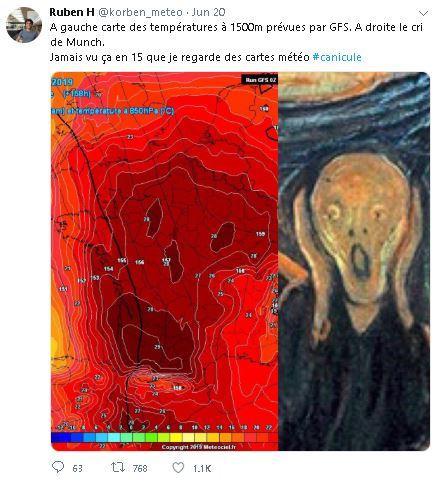 Thời tiết Châu Âu nóng chết người: Bản đồ nhiệt độ tại Pháp trông như một chiếc đầu lâu gào thét