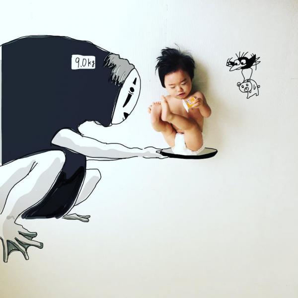 'Bố bỉm sữa' trổ tài họa sĩ biến con thành tác phẩm nghệ thuật