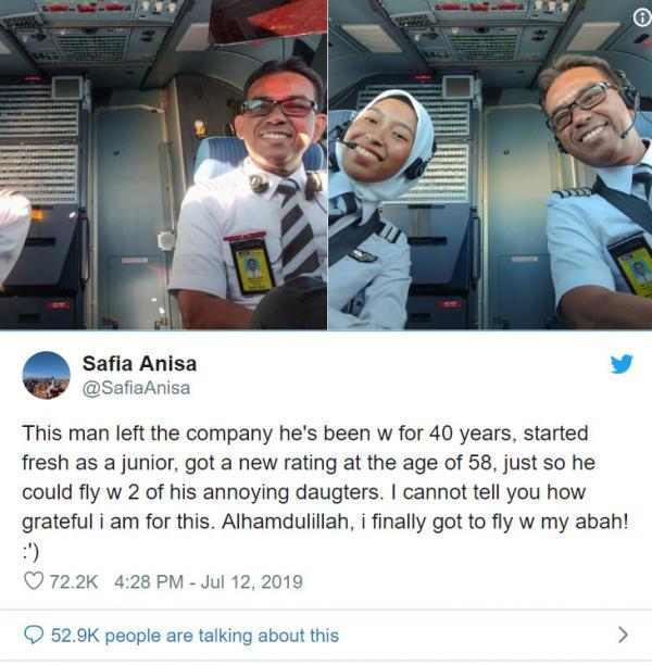 Ông bố phi công bỏ hãng bay đang làm để được trở thành đồng nghiệp với hai cô con gái