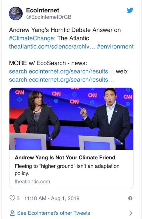 Ứng cử viên tổng thống Mỹ Andrew Yang: 'Đã quá muộn cho tình trạng biến đổi khí hậu'