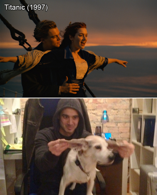 Anh chàng tái hiện những cảnh phim kinh điển cùng với chú chó cưng của... sếp