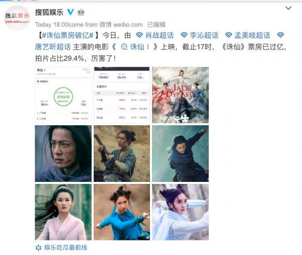 Movie 'Tru Tiên' của Tiêu Chiến chỉ mất 9 tiếng để đạt 100 triệu tệ doanh thu phòng vé