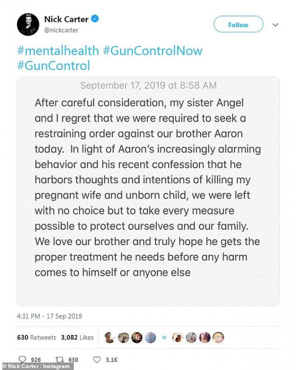 Aaron Carter phản ứng lại sau khi Nick Carter buộc tội em trai muốn hại vợ con mình