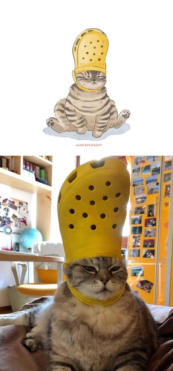 Khi những bức meme mèo trên internet được vẽ lại bằng 'màu nước' cute đến lạ