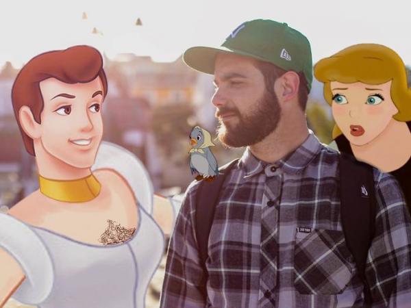 Anh chàng dùng Photoshop để đi chơi cùng với những nhân vật hoạt hình Disney