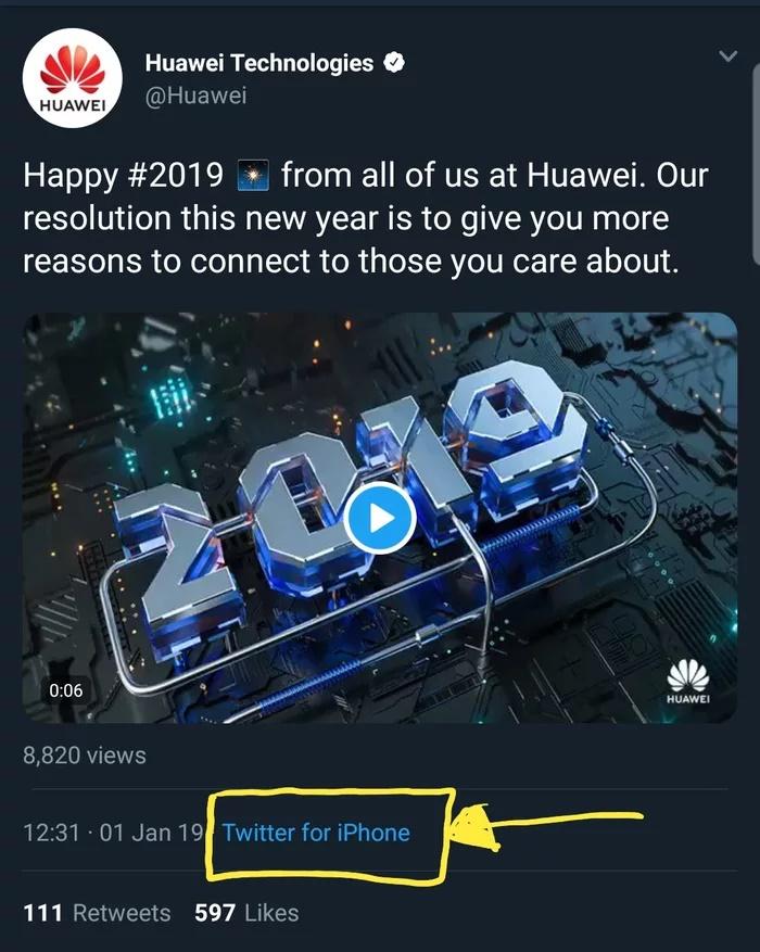 Huawei 'khóc một dòng sông' khi lỡ tay đăng tweet mừng năm mới 2019 bằng... iPhone